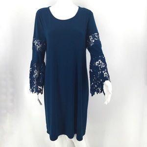 NWT ALFANI Dress Teal Blue Lace Stretch Career